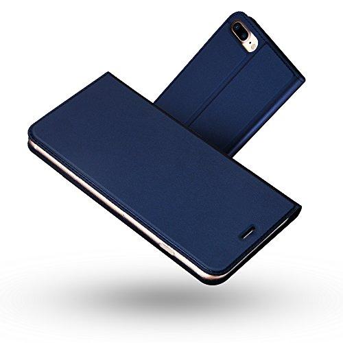 Radoo Funda iPhone 8 Plus,Funda iPhone 7 Plus, Slim Case de Estilo Billetera Carcasa Libro de Cuero,PU Leather con TPU Silicona Interna Suave para iPhone iPhone 7 Plus/iPhone 8 Plus (Azul)