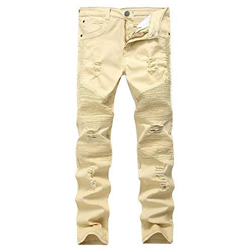 ShFhhwrl Jeans Classici da Uomo alla Moda Jeans per Uomo 100% Cotone Jeans da Motociclista di Marca di Alta qualità Jeans Skinny