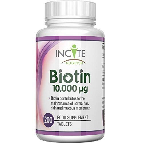 Biotin Hair Growth Supplement 10000mcg - 200 6mm High Strength Biotin Tablets for Hair Supports Healthy Hair, Nail Growth and Skin UK Manufactured
