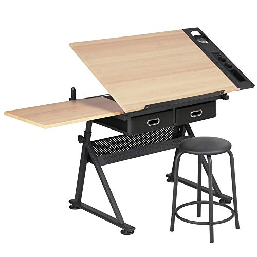 Yaheetech Adjustable Drawing Table with Tiltable Tabletop/2 Drawers/Stool- Drafting Table Artist Desk Computer Desk for Home and Office Use