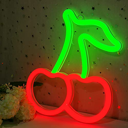Cherry Neon Sign for Wall Decor, Cisteen Led Neon Light Wall Sign Hanging Art Light Children Light for Kids' Bedroom, Baby Nursery Room, Party, Christmas (USB Charging/Battery Powered) (Green&Red)