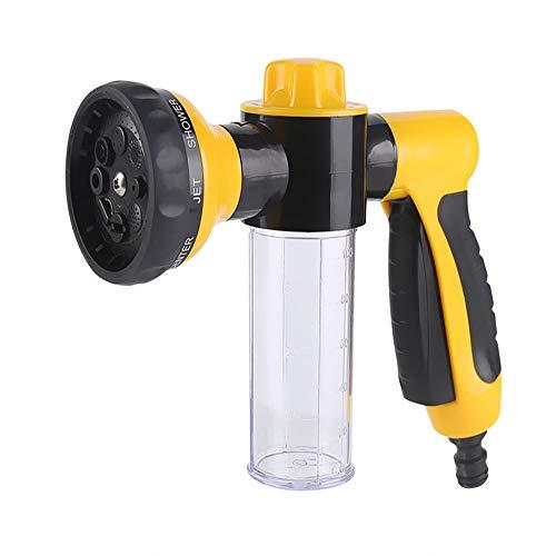 Tuinslang Bevestiging Spray Gun Nozzle, voor Auto Wassen, Bad Huisdieren, Waterplanten & Gazon, Patio (geel)