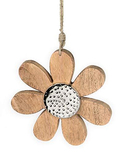 Deko Anhänger Blume Blüte 15 cm, Mango Holz massiv natur braun Metall Alu silber, Holzdeko Blümchen Dekoblume Frühling Sommer