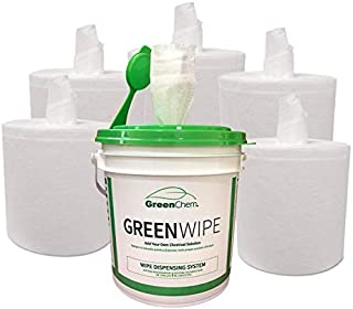 GreenWipe Industrial DRY Wipes with No-Splash Bucket   Add Your Own Cleaning Solution   Heavy Duty MIGHTYWIPE Roll Include...