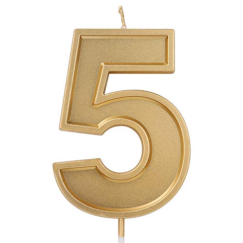LUTER 3.94 Inches Oversized Birthday Candles Gold Glitter Birthday Cake Candles Number Candles Cake Topper Decoration for Wedding Party Kids Adults, Number 5