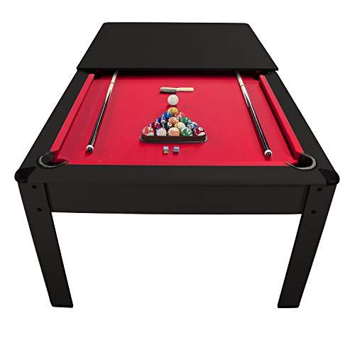Billar Harmony Convertible en Mesa - con accesorios-206,5 x 116,5 x 80 cm- Alfombra roja-Negro