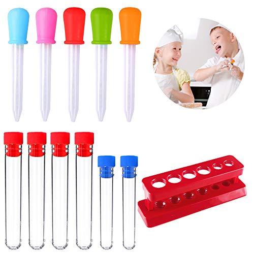 Dropper Pipette Silikon 5 ML für Kinder Wasser spielen und Candy Gummy Making, Kunststoff Reagenzglas Aufnahmen mit Ständer für Kinder kreative wissenschaftliche Experimente (Packung mit 12 Stück)