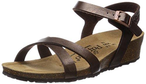 Papillio Alyssa Birko-Flor, Damen Knöchelriemchen Sandalen mit Keilabsatz, Braun (Graceful Toffee), 36 EU
