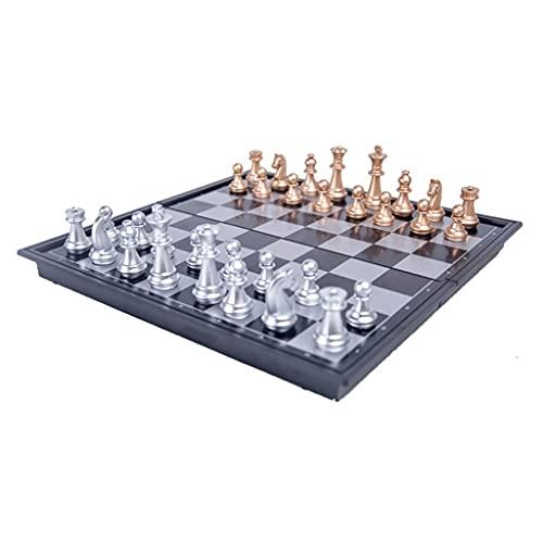 Juego de Tablero de ajedrez magnético de Oro y Plata, Piezas de ajedrez de Viaje, Juego de Mesa para niños Adultos (9.8 * 9.8 Pulgadas) Buenos Regalos (Color : Gold+Silver, tamaño : 10')