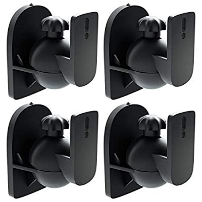 deleyCON 4x Universal Speaker Wall Mounts Loudspeaker Wall Mountings Tilt + Swivel & up to 3.5 Kg Load Weight - Ceiling Mounting + Wall Fitting - Black by deleyCON
