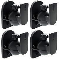 deleyCON 4X Soporte Universal para Altavoces y Bafles de Grado de Rotación + Inclinación hasta 3,5kg de Carga Instalación en Paredes y Techos - Negro