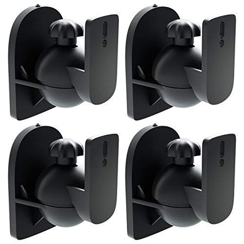 deleyCON 4X Soporte Universal para Altavoces y Bafles de Grado de Rotación + Inclinación hasta 3,5kg de Carga Instalación...