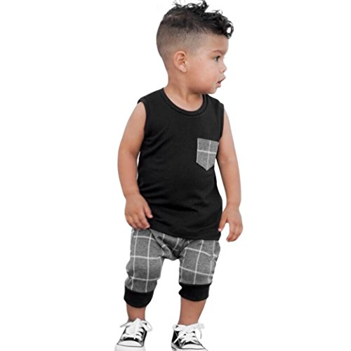 Conjunto Bebé VeranoRecién Nacido Infantil Bebé Niños niñas Top Tapas de Cuadros Camiseta Chaleco y Pantalones Cortos Conjunto de Ropa Trajes (Negro, Tamaño:12-18Mes)