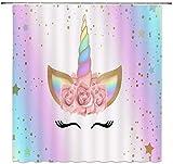 MMPTn - Cortina de ducha con diseño de unicornio, diseño de cabeza mágica de arcoíris, romántica, para niña, con dibujos animados, impermeable, 180 x 180 cm, incluye 12 ganchos de plástico