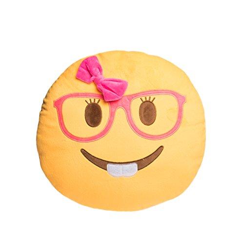 Emoji Kissen | Emoticon Smiley Lachen Dekokissen | Deko Plüsch Spielzeug | Größenauswahl (Mädchen)