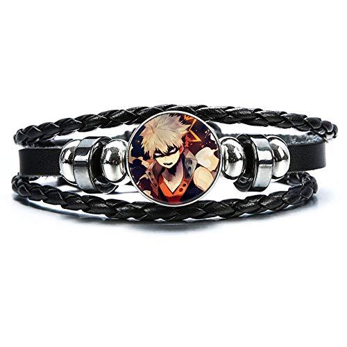 lunanana MHA Bracelet, Deku My Hero Academia Glass Gemstone Braid Wristband Wristlet Jewelry Accessories for Anime Fans(H27)