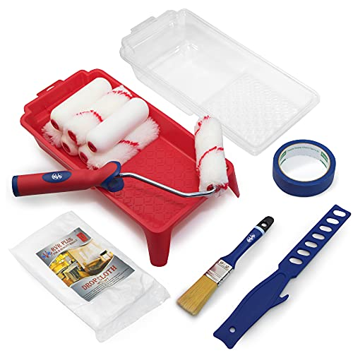 Small Paint Roller Supplies Kit - 1 Mini Paint Roller Frame 4 inch 1 Paint Brush 4 Acrylic Roller Covers 4 Foam Roller Covers 4 Paint Tray 1 Paint Mixing Stick 1 Masking Tape and 1 Plastic Drop Cloth