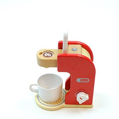 Unbekannt Kaffeemaschine mit Kaffeepad, Kaffeetasse und drehbarem Schalter mit Klickgeräuschen / Material: Holz / für Kinder ab 3 Jahren geeignet