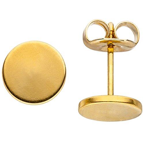 Jobo Pendientes Studs 8mm de acero inoxidable revestimiento de colores dorado Pendientes