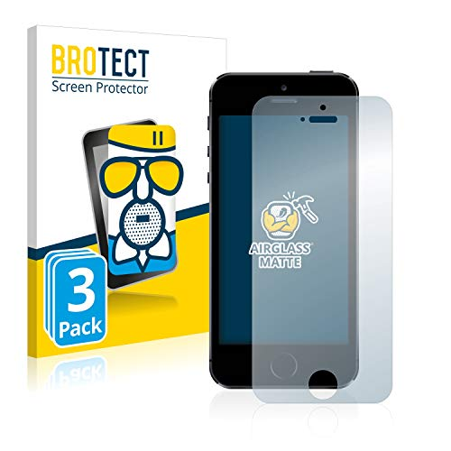 BROTECT Protector Pantalla Cristal Mate Compatible con iPhone 5 / 5S / 5C / SE 2016 Protector Pantalla Anti-Reflejos Vidrio, AirGlass (3 Unidades)