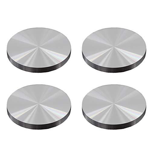 4 piezas de 40 mm de diámetro y 8 mm de espesor Adaptador para placa de vidrio aluminio se puede utilizar como patas mesa centro también se puede utilizar para decoración y es adecuado para el hogar