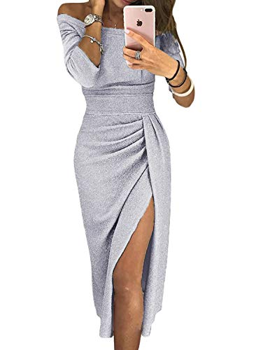 Party Prom Sequin Dresses Off Shoulder Midi Dress for Ladies Fashion Cocktail Clubwear High Slit Ruched Details Grey L