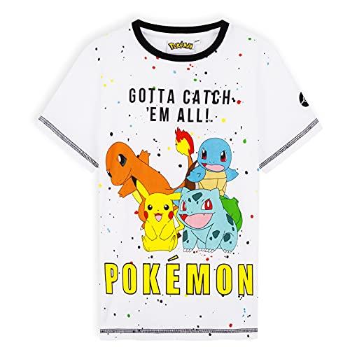 Pokemon Camiseta Niño, Camisetas Niño Manga Corta De Algodón, Regalo Cumpleaños Niños, Tallas De 5-14 Años (Blanco, 9-10 años)