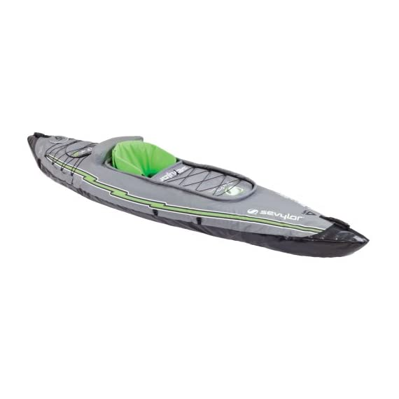 Sevylor Quikpak K5 1-Person Kayak , Gray 1 5-minute setup lets you spend more time on the water Easy-to-carry backpack system turns into the seat 24-gauge PVC construction is rugged for lake use