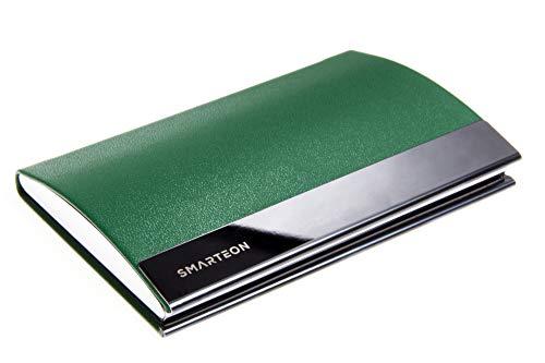 SMARTEON | Visitenkartenetui grün | Premium Visitenkartenhalter zur schonenden Aufbewahrung Ihrer Karten | Hochwertige Visitenkartenhülle aus Edelstahl inkl. Geschenkbox