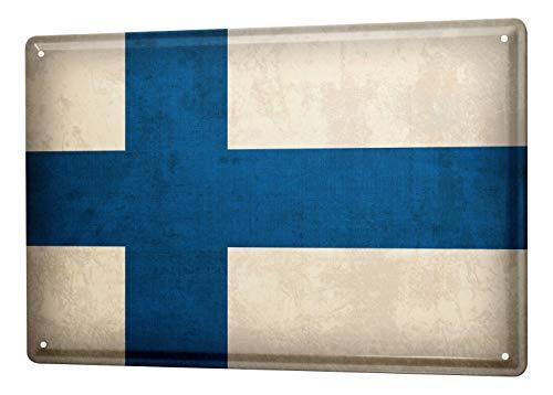 LEotiE SINCE 2004 Blechschild Dekoschild Küche Garage Welt Reise Finnland Flagge Wand Deko Schild 20X30 cm