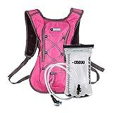 + CISCOO Mochila de hidratación Deportiva Ultraligera, Incluye Bolsa de hidratación de 2 litros para mochileros, Senderismo, Correr, Ciclismo y Actividades al Aire Libre (Rosa)