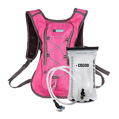 + CISCOO Fahrradrucksack Damen & Herren - Leichter Trinkrucksack (8L Volumen) mit 2L Trinkblase - für Sport und Outdoor Aktivitäten (Magenta/Pink)