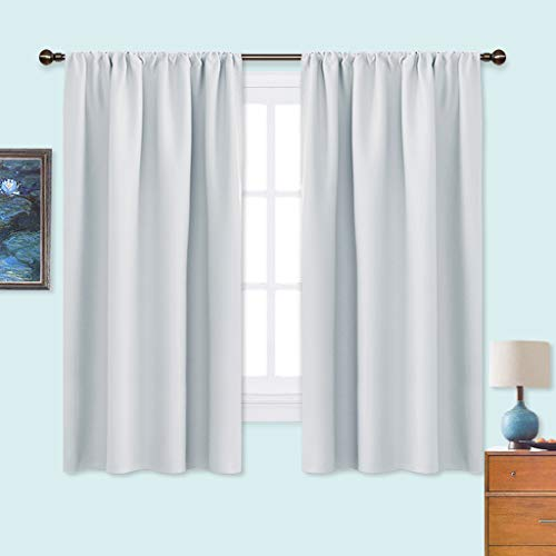 NICETOWN White Bedroom Curtain Panels - Window Treatment Thermal Insulated Rod Pocket Room Darkening Curtains/Drapes for Bedroom (2 Panels, 42 by 63, Platinum - Greyish White)