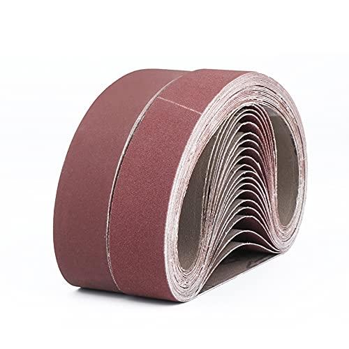 FEIHU Banda Abrasiva de óxido de aluminio, Bandas de Lija 50x686mm,para pulir metal,madera,cada 3x40/80/120/180/320,juego de cintas de lijado,para lijadora de banda (15piezas)