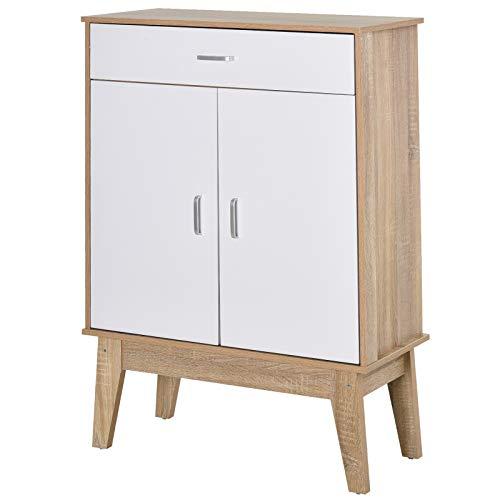 HOMCOM Gabinete de Almacenamiento Consola Armario para Baño Cocina Dormitorio con 3 Estantes Ajustable 1 Cajón 2 Puertas 80x35x115 cm Blanco