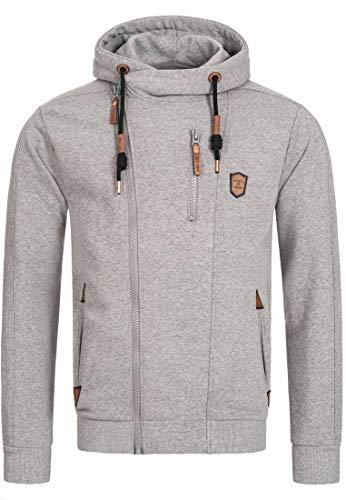 Indicode Herren Elm Kapuzensweatjacke | Hooded Jacket Kapuzenjacke Hoodie mit Reißverschluss Kapuzenpullover mit Zipper Sweatjacke mit Kapuze Kapuzensweatshirt für Männer Grey Mix S