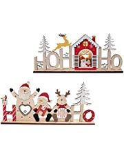 FRCOLOR Christmas Wooden Decorations LED Luminous Desktop Ornament With Santa Claus Snowman Deer Xmas Holiday Home Party Decor