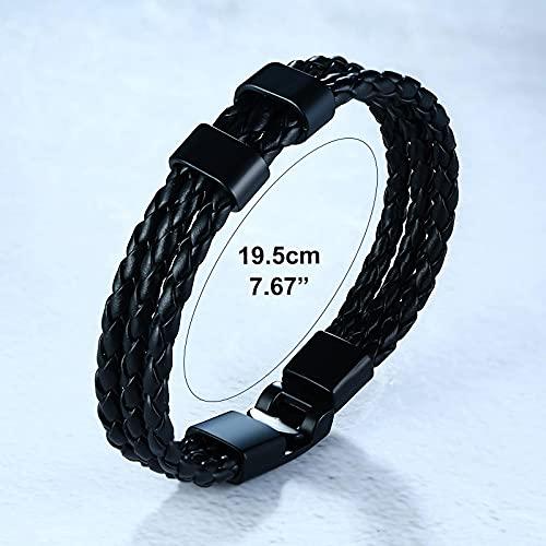 ShSnnwrl Klassischer Stil Armband Armbänder Für Männer Gewebtes Schwarzes Leder Armreif Frauen Perlen Armband Personalisierte Wei