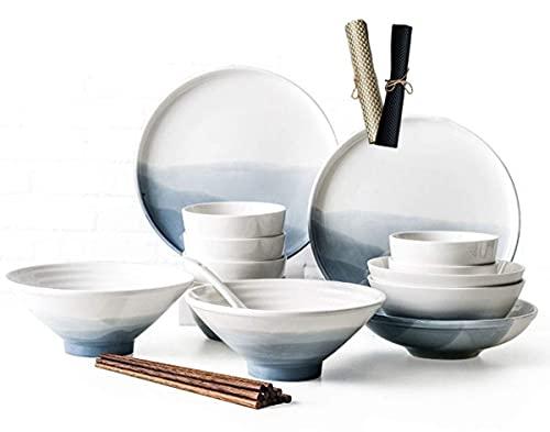 Peakfeng Juego de vajillas de Porcelana de 12 Piezas, Incluye Plato, Platos de Cena y Cuencos, Conjuntos de vajillas de cerámica de Creatividad, Ideal para Fiesta en el hogar (Color : 20piece)
