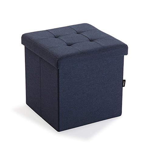 takestop® Pouf Contenitore Blu in Fibra di Lino Legno MDF Stile Shabby 38x38x37.5cm Porta Oggetti Poggia Piedi Casa Ufficio