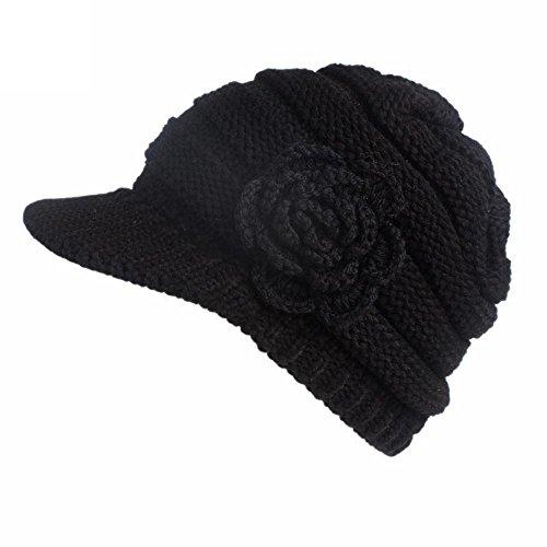DEELIN Mujer Mujeres Invierno Sombrero De Tejer Boinas Turbante Borde Sombrero Gorra Gorro De Flor Sombrero De Lana Gorra