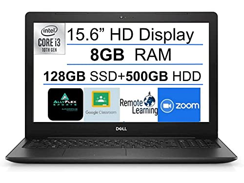 2021 Newest Dell Inspiron 15 3000 Business Laptop 15.6' HD Display, Intel 10th Gen Core i3-1005G1(Up to 3.4GHz), 8GB DDR4 RAM, 128GB SSD+500GB HDD, HDMI, USB 3.1, Webcam, Bluetooth, Win 10S+Gift MP