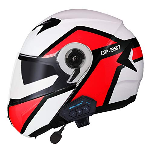 Motorcycle Modular Bluetooth Helmet Double Visors Full Face Helmet Men and Women Motocross Locomotive Four Seasons Flip Up Riding Safety Crash Helmet DOT/ECE Certification (57-62cm)