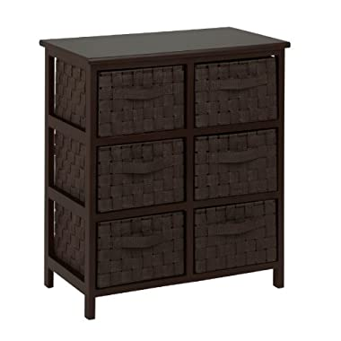 Honey-Can-Do TBL-03759 6-Drawer Storage Chest with Woven-Strap Fabric, Espresso, 24-Inch