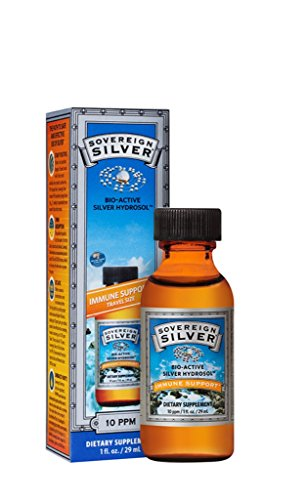 Sovereign Silver Bio-Active Silver Hydrosol for Immune Support - Colloidal Silver - 10 ppm, 1oz (29mL) - Travel Size