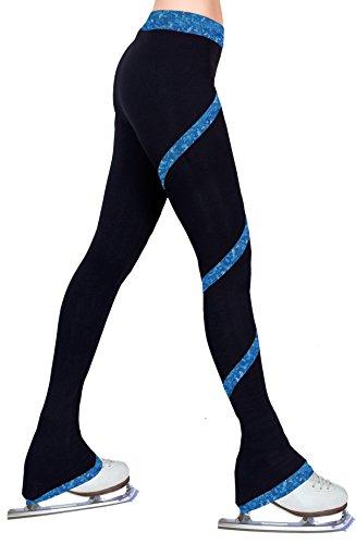 Figure Skating spirale Polartec Polaire Pants – Feuille d'hologramme Bleu, noir