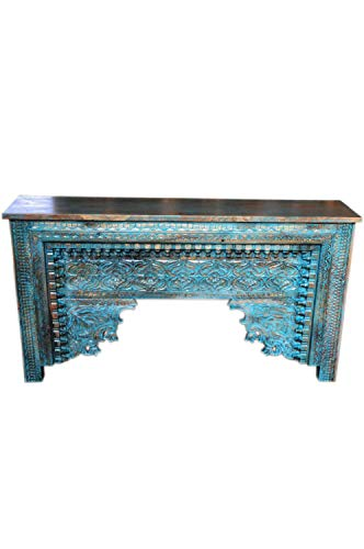 Orientalische Konsole Sideboard schmal Gassan Blau 170cm | Orient Vintage Konsolentisch orientalisch handgeschnitzt | Landhaus Anrichte aus Holz massiv | Asiatische Deko Möbel aus Indien