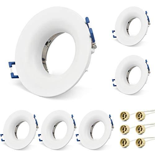 KYOTECH Einbauleuchten Rahmen GU10 6er Set LED Spot Einbaurahmen Rund Blendschutz, Einbauspots Einbaustrahler für Halogen Leuchtmittel LED-Modul MR16, inkl. GU10 Fassung für 230V (Weiß, Rund,IP20)