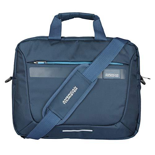 American Tourister Unisex Amt Rexton 01 Navy Lightweight Laptop Messenger Bag with Multiple Organizer (Navy Blue)