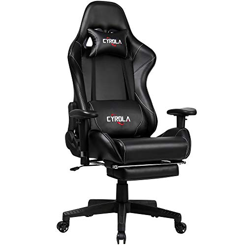 Cyrola Large Gaming Chair with Footrest High Back Adjustable Armrest Heavy...